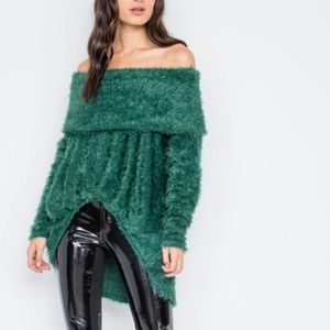 Sweaters - Womens Soft Off shoulder Green Sweater Top
